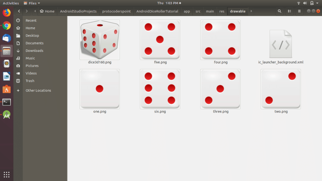 Dice Roller app resources android studio