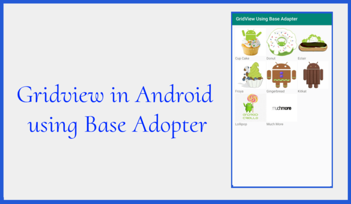 Gridview in Android using Base Adopter