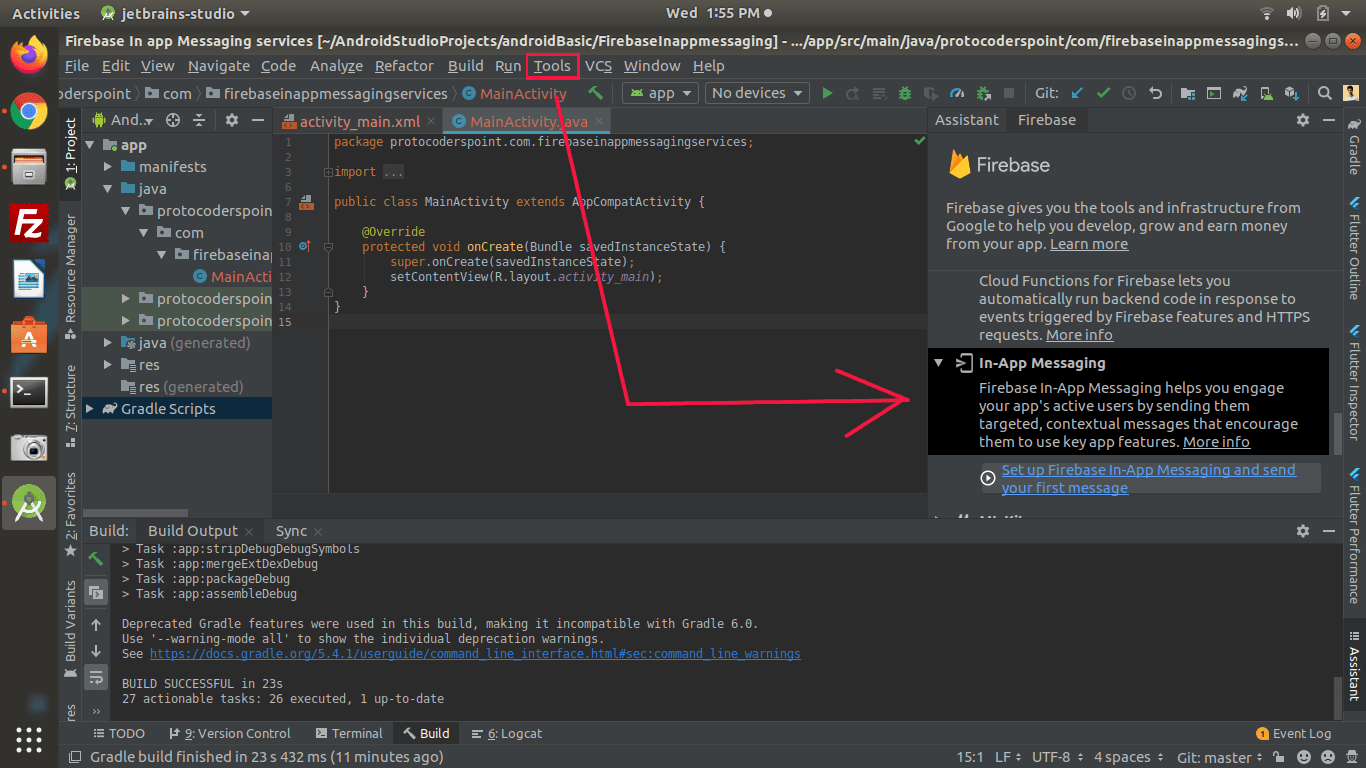 adding firebase to android studio project