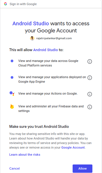 google sign-in android studio