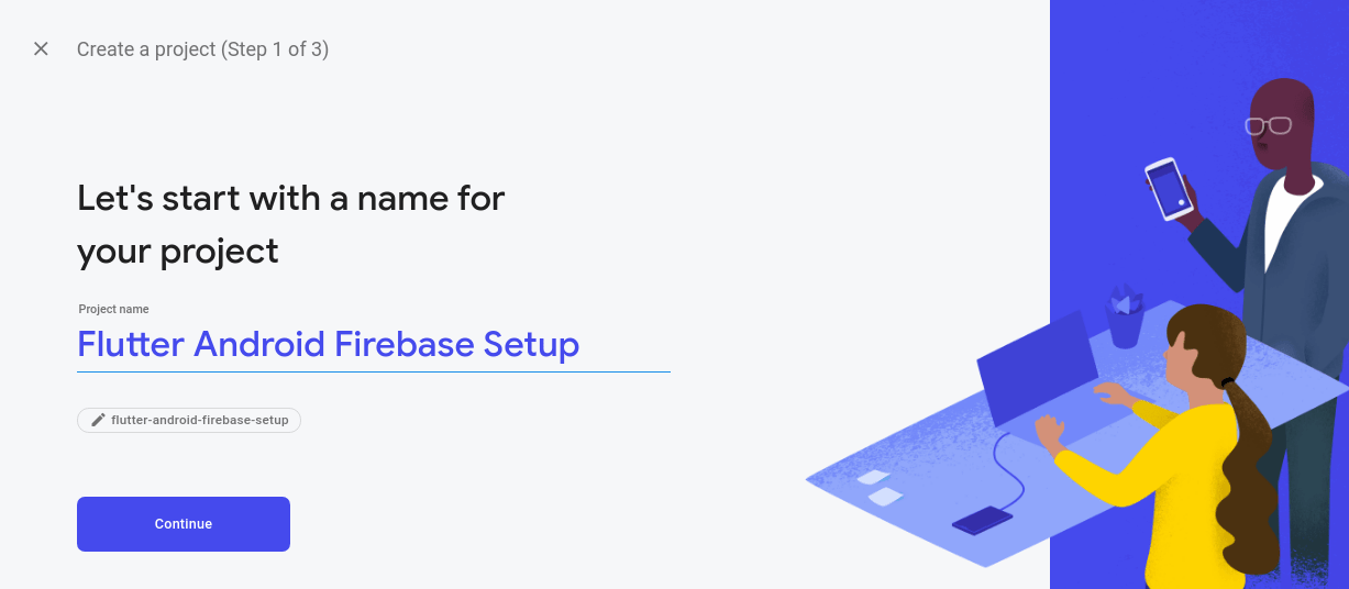 Giving name you firebase project in console