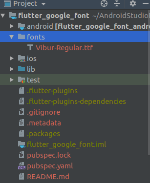 creating a fonts directory in flutter project