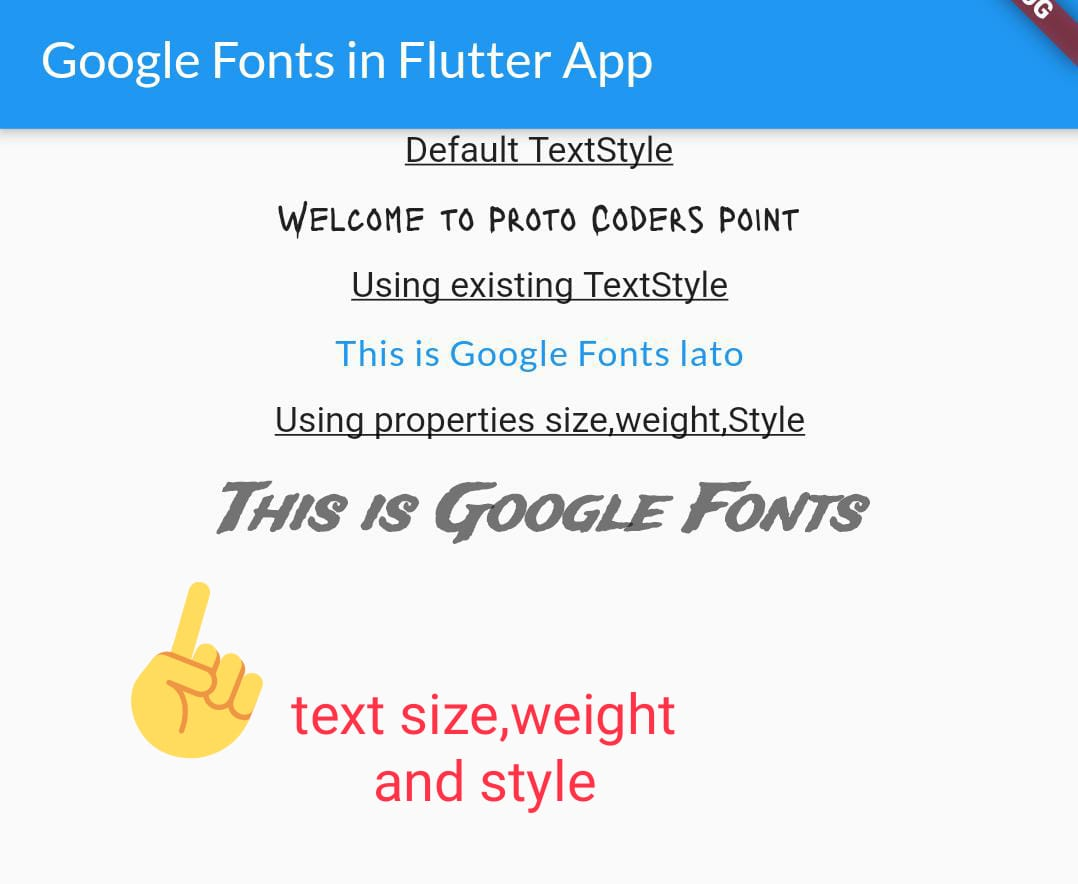 flutter google fonts size, weight, style