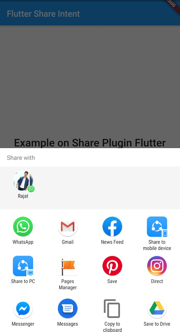 flutter share plugin dialog on android device