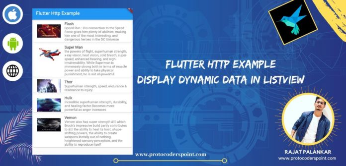 Flutter http example display dynamic data in listview