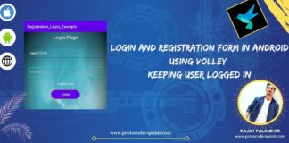 Login and Registration form in android using volley