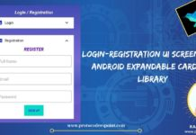 Login-Registration UI Screen using Android Expandable CardView Library