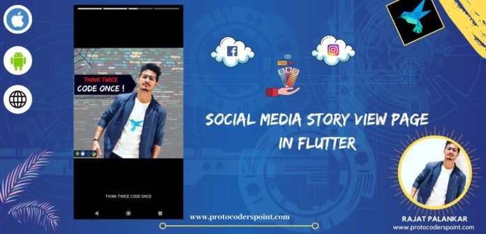 Social Media Story View Page development using Flutter