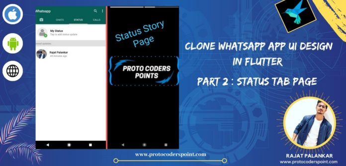 WhatsApp Clone App UI Design using Flutter Status Tab Page