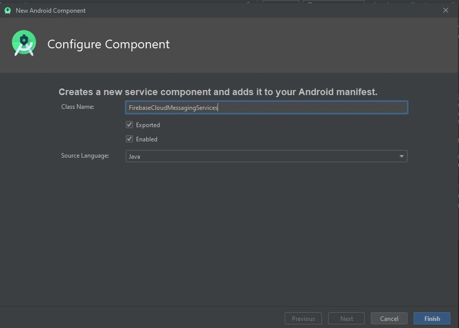 creating FCM service in android studio