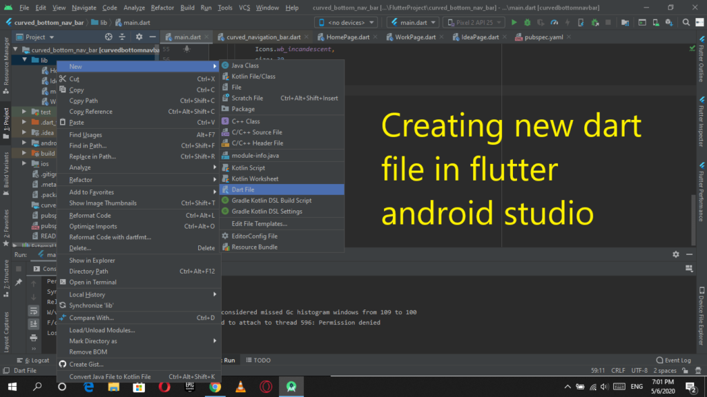 Creating new dart file in flutter android studio