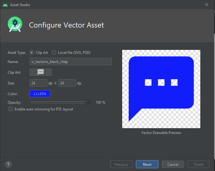 How to create Vector image asset on android studio