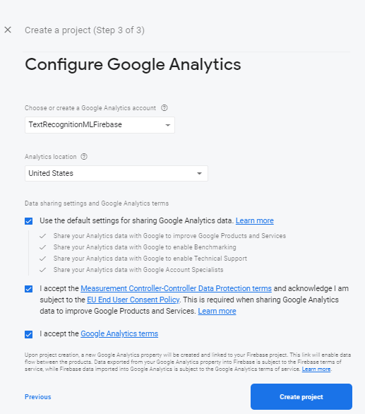 adding android project to firebase console configuration google analysis