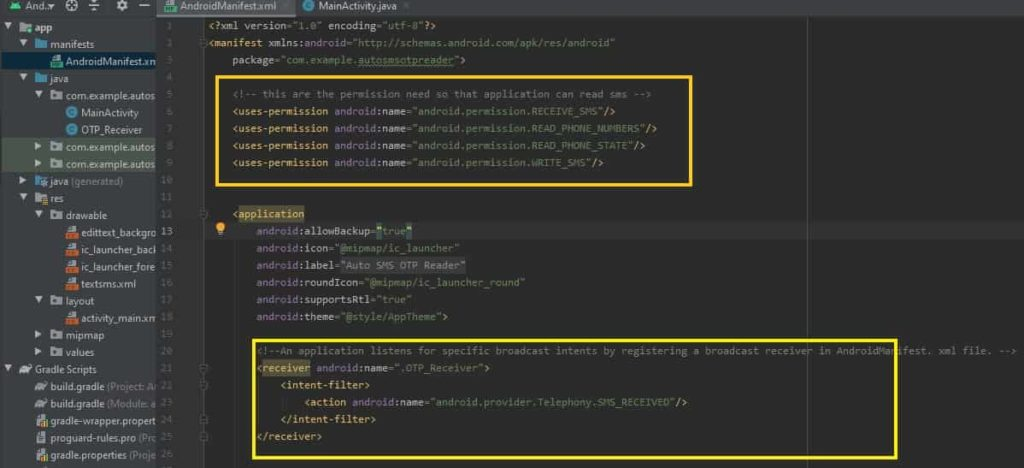 adding permission in android manifest xml