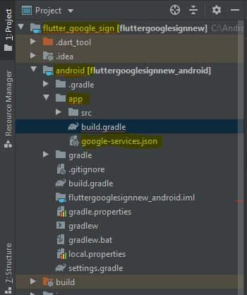 adding google services file in flutter project