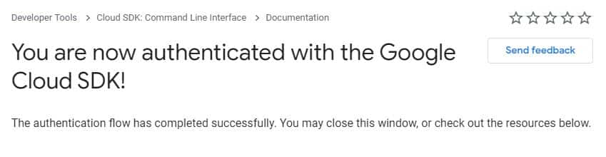 authenticated with the google cloud SDK