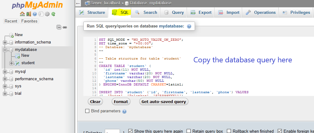 database query import query