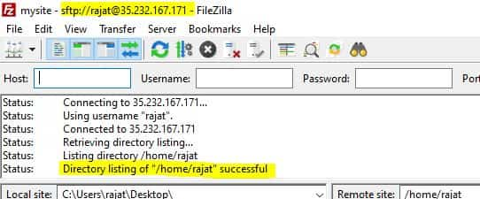 filezilla connected successfully to google cloud system