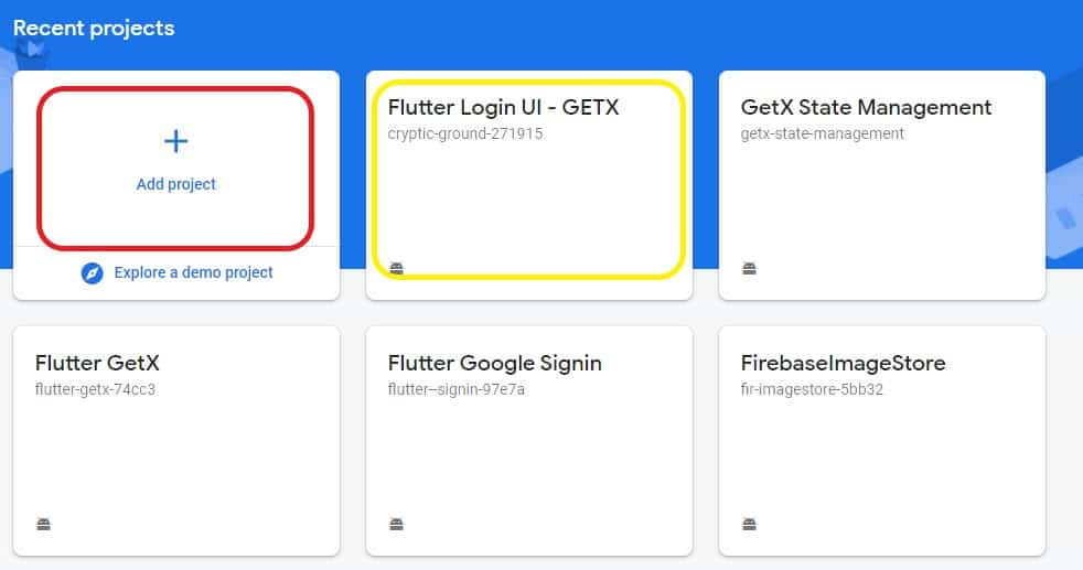 Connecting Flutter to Firebase 1 add project