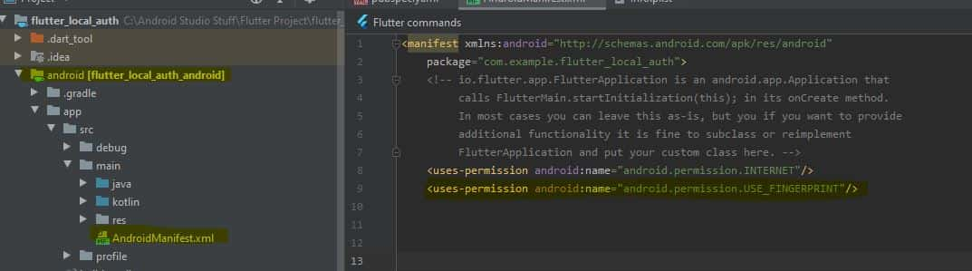 adding use finger permission android manifest