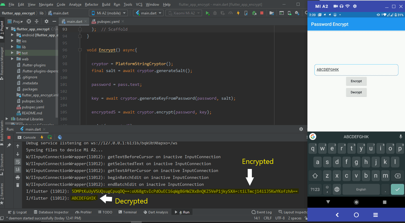 Flutter encrypted decrypted example
