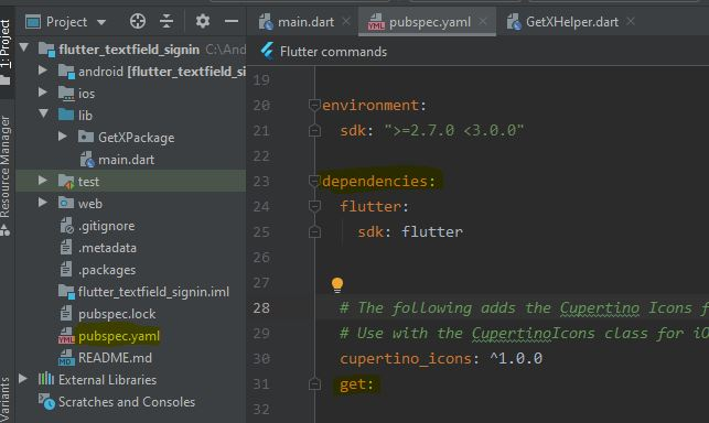 how to add getx dependencies in flutter project