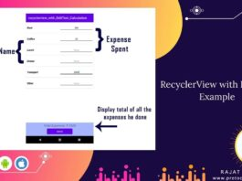 RecyclerView with EditText Example