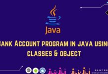 Bank Account program in java using classes & object