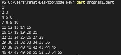 number increment pattern in dart