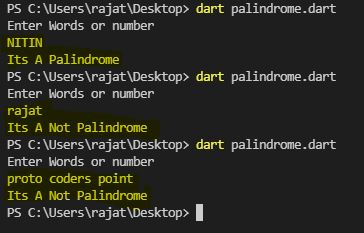 check is given input is palindrome or not a palindrome